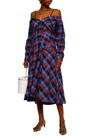 32d629a73f3073 ... ANNA OCTOBER Cold-shoulder checked cotton-flannel midi dress ...