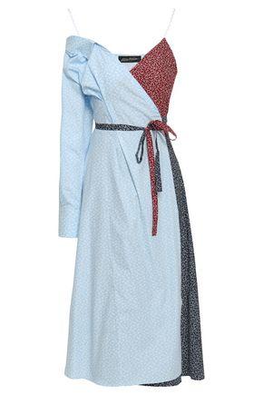 ANNA OCTOBER Cold-shoulder floral-print cotton-poplin midi wrap dress