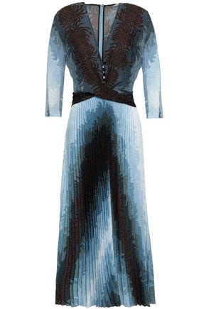 MARCO DE VINCENZO Pleated paneled twill midi dress
