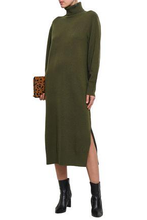 Joseph Woman Sally Wool-blend Turtleneck Midi Dress Army Green
