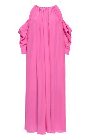 ANNA OCTOBER Cold-shoulder gathered silk-chiffon midi dress