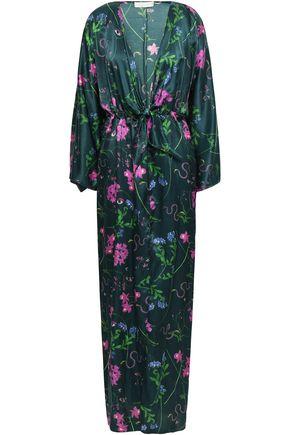 BORGO DE NOR Tie-front floral-print crepe de chine maxi dress