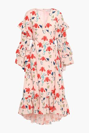 BORGO DE NOR Tiered printed crepe de chine midi dress
