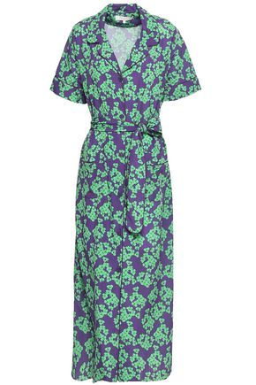 BORGO DE NOR Belted floral-print crepe de chine maxi shirt dress