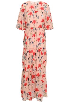 BORGO DE NOR Gathered floral-print fil coupé maxi dress