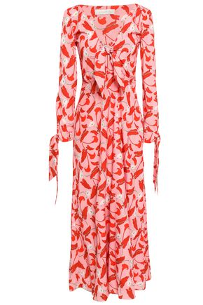 BORGO DE NOR Knotted floral-print crepe de chine maxi dress