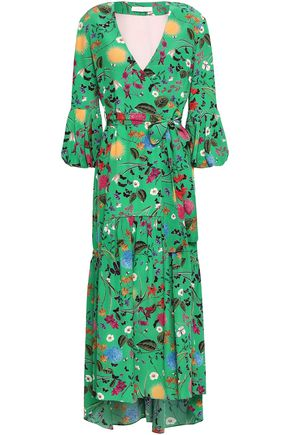 BORGO DE NOR Wrap-effect printed silk crepe de chine midi dress