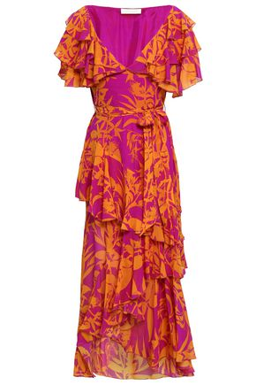 BORGO DE NOR Asymmetric ruffled printed silk-georgette maxi dress