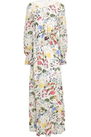 BORGO DE NOR Ruffled printed silk-georgette maxi dress