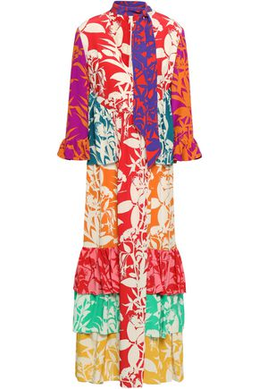 BORGO DE NOR Ruffled printed silk-crepe maxi dress