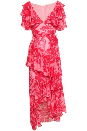 BORGO DE NOR Asymmetric ruffled printed silk-georgette midi dress
