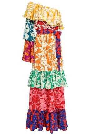 BORGO DE NOR One-shoulder ruffled printed silk-crepe maxi dress