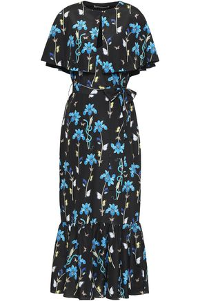 BORGO DE NOR Layered floral-print crepe de chine midi dress