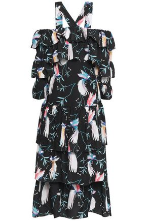 BORGO DE NOR Cold-shoulder tiered printed crepe de chine midi dress