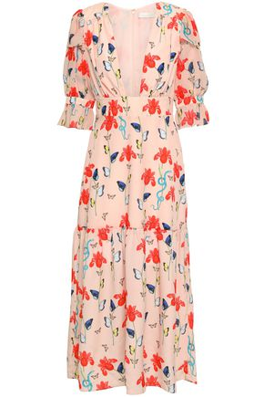 BORGO DE NOR Gathered printed crepe de chine and georgette midi dress