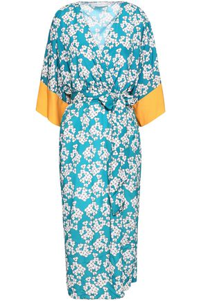 BORGO DE NOR Floral-print crepe de chine midi wrap dress
