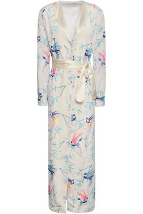 BORGO DE NOR Satin-trimmed printed crepe de chine maxi dress