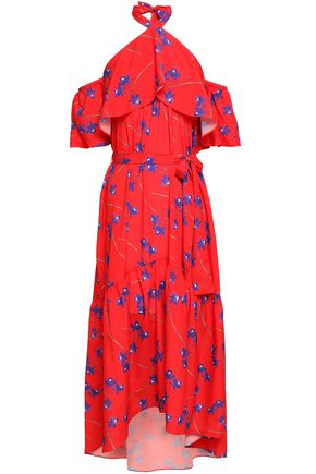 BORGO DE NOR Cold-shoulder ruffled floral-print crepe de chine maxi dress