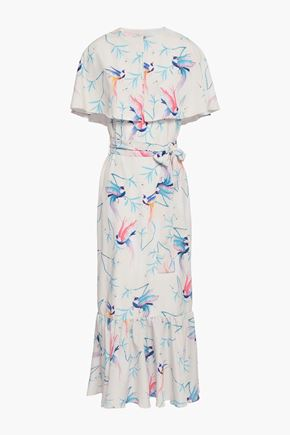 BORGO DE NOR Cape-effect printed crepe de chine midi dress