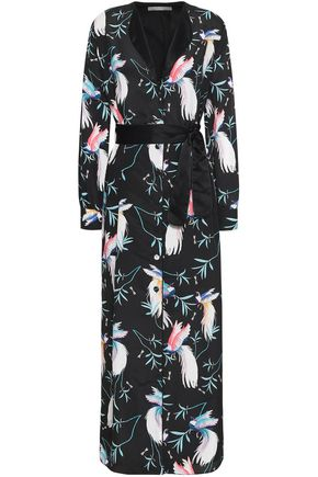 BORGO DE NOR Satin-trimmed printed crepe de chine maxi shirt dress