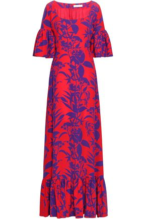 BORGO DE NOR Fluted printed silk-crepe maxi dress