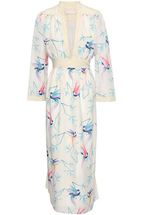 BORGO DE NOR Gathered printed crepe de chine midi dress