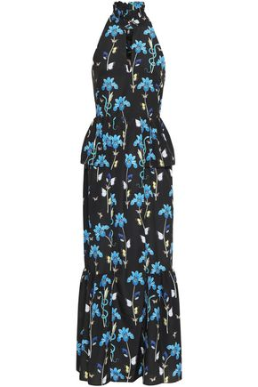 BORGO DE NOR Gathered floral-print crepe de chine peplum maxi dress