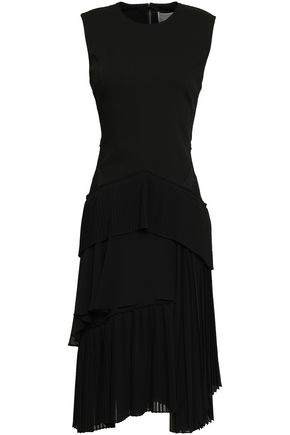 JASON WU Tiered wool-blend and pleated georgette dress
