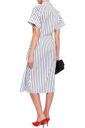 JASON WU Gathered striped cotton-poplin midi shirt dress
