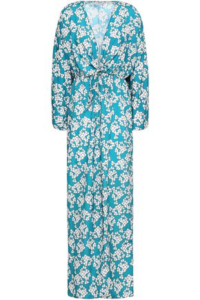 BORGO DE NOR Tie-front floral-print crepe de chine maxi dress
