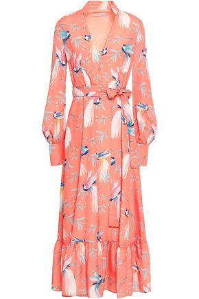 BORGO DE NOR Printed crepe de chine midi dress