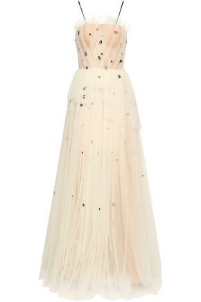 JASON WU Layered crystal-embellished plissé-tulle gown