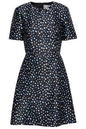 JASON WU Crystal-embellished printed duchesse-satin mini dress