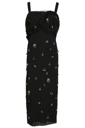 JASON WU Embellished plissé crepe de chine midi dress