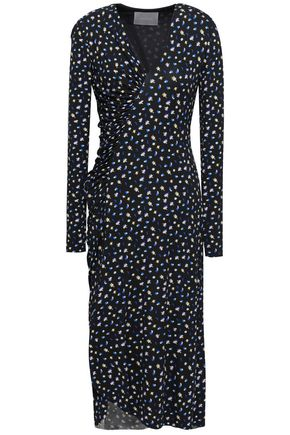 JASON WU | Jason Wu Ruched Printed Stretch-Jersey Midi Dress | Goxip