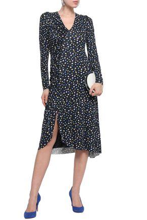 JASON WU Ruched printed stretch-jersey midi dress