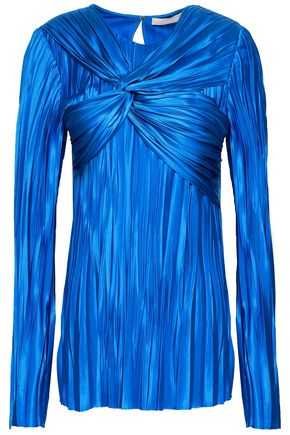JASON WU Twist-front plissé-satin blouse