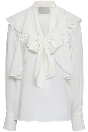 JASON WU Pussy-bow ruffled silk crepe de chine blouse