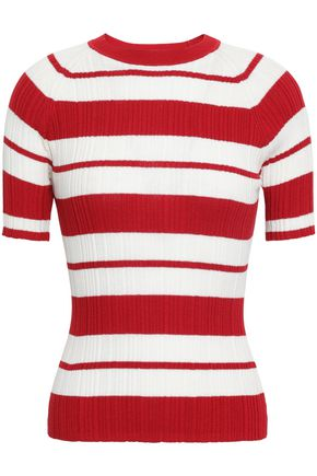 JASON WU Striped ribbed silk-blend top