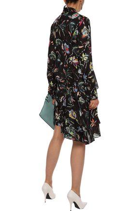 JASON WU Pussy-bow ruffled floral-print chiffon dress