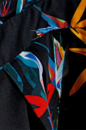 JASON WU Pleated floral-print cotton-poplin shirt dress