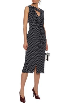 JASON WU Braid-trimmed cutout checked wool midi dress