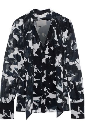 JASON WU Pussy-bow floral-print georgette blouse