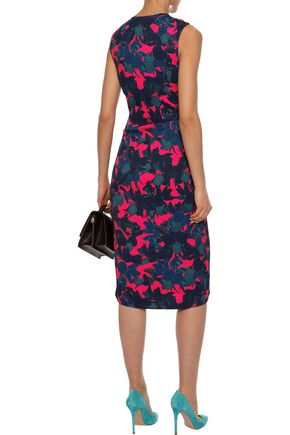 JASON WU Wrap-effect twist-front floral-print satin-crepe midi dress