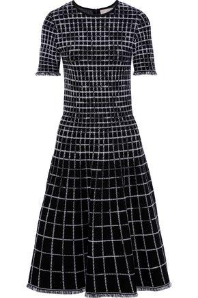 JASON WU Flared checked jacquard-knit dress