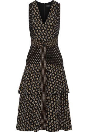 PROENZA SCHOULER Tiered printed crepe dress