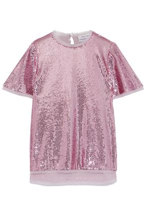 PRABAL GURUNG Frayed georgette-trimmed sequined tulle top
