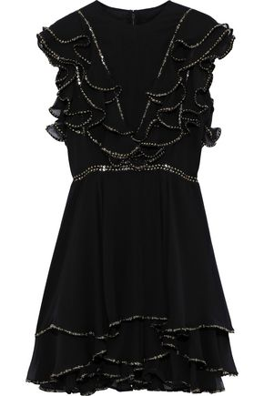 COSTARELLOS Sequin-embellished ruffled silk-chiffon mini dress
