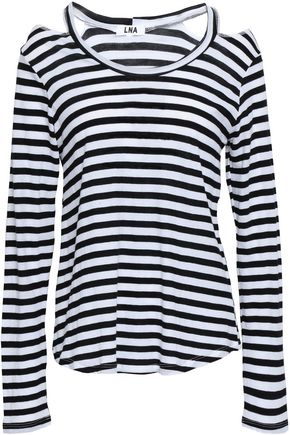 LNA Cutout striped Supima cotton-jersey top