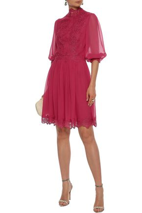 COSTARELLOS Lace-trimmed gathered silk-chiffon dress